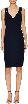 Pure Navy Buckle Strapped Sheath Dress