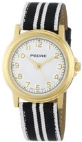 Pedre Women's 0231GX Gold-Tone and Black and White Grosgrain Strap Watch