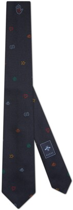 Gucci Symbols jacquard silk tie