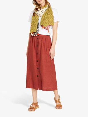 White Stuff Margarita Linen Midi Skirt, Rust