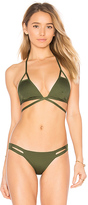Vitamin A Serra Keyhole Wrap Top in Green. - size S (also in XS)