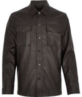 River Island MensDark brown leather look shirt jacket