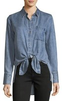 7 For All Mankind Button-Front High-Low Tie-Hem Denim Shirt