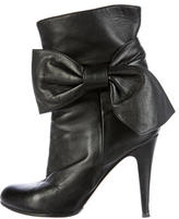 Valentino Leather Bow Ankle Boots