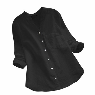 NPRADLA Women Cotton Linen Casual Solid Long Sleeve Shirt Blouse Button Down Tops Black