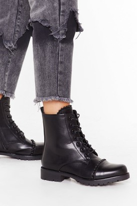 Nasty Gal Womens Find Your Feet Faux Leather Lace-Up Boot - black - 3