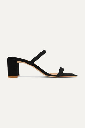 BY FAR Tanya Suede Mules - Black