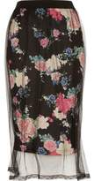 River Island Womens Black floral mesh midi skirt