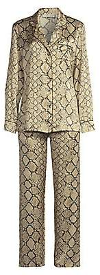 Ginia Women's Fine Finishes Two-Piece Print Silk Pajama Set