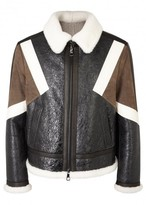 Neil Barrett Brown Shearling-trimmed Leather Jacket