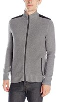Kenneth Cole New York Kenneth Cole Men's Long Sleeve Full Zip Mock with Pleather