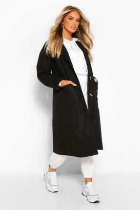 boohoo Pocket Detail Longline Wool Look Coat