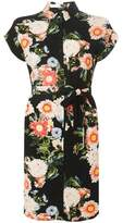 Dorothy Perkins Womens Black Floral Print Shirt Dress