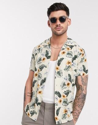 Jack and Jones slim fit revere collar floral shirt in cream