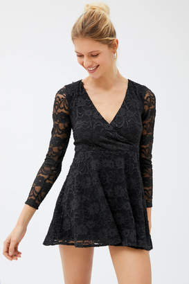 Urban Outfitters Whirlaway Lace Long Sleeve Romper
