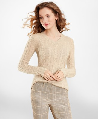 Brooks Brothers Cable-Knit Cashmere V-Neck Sweater