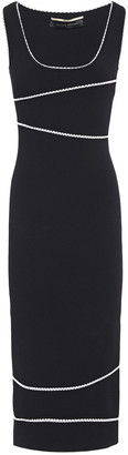Roland Mouret Two-tone Stretch-knit Midi Dress