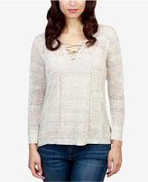 Lucky Brand Pointelle-Striped Lace-Up Top