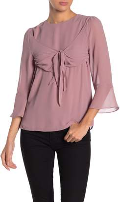 Naked Zebra Tie Accent 3/4 Sleeve Blouse