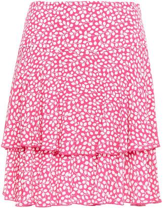 Diane von Furstenberg Margaux Tiered Printed Crepe Mini Skirt