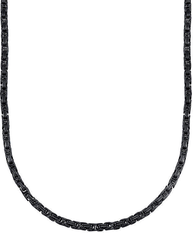 JCPenney FINE JEWELRY Mens Black Ion-Plated Stainless Steel Byzantine Chain Necklace