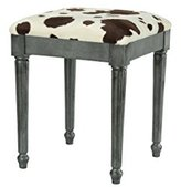 High Street Design Pewter small dressing table/footstool with Fluted style legs and Cow Hide Print Fabric Cushion