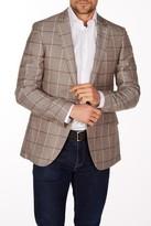 Levinas Brown Windowpane Two Button Notch Lapel Wool Slim Fit Blazer