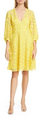 Lela Rose Embroidered Bishop Sleeve Mesh Dress