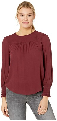 Lucky Brand Smocked Cuff Top (Tawny Port) Women's Clothing