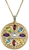 18k Gold-Over-Silver & Sterling Silver Gemstone & Diamond Accent Pendant