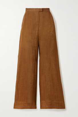 Lisa Marie Fernandez Net Sustain Linen Wide-leg Pants - Brown