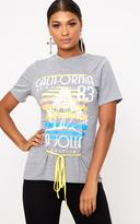 PrettyLittleThing Grey Marl Slogan Print Contrast Lace Up T Shirt