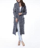 Navy Hooded Wool-Blend Open Duster
