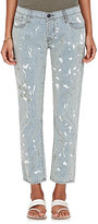 NSF Women's Paint Splatter Striped Crop Skinny Jeans