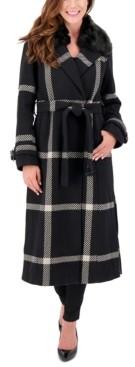 Vince Camuto Petite Faux-Fur-Collar Plaid Maxi Coat, Created for Macy's