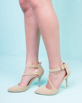 Missy Empire Carmel Beige Pointed Toe Ankle Strap Heel