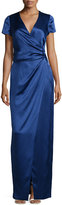 J. Mendel Short-Sleeve Faux-Wrap Gown, Marine