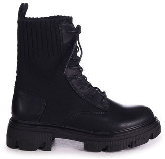 Linzi NOW - Black Nappa & Knit Chunky Military Boots