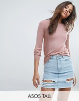Asos Tall Jumper With Crew Neck And Panel Detail