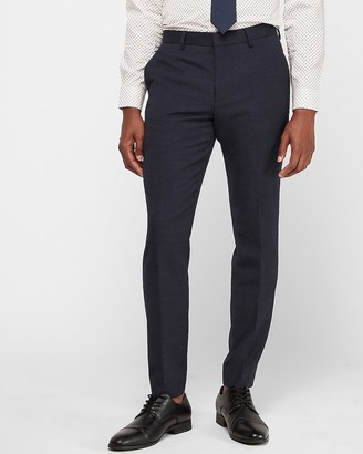 Express Extra Slim Indigo Blue Flannel Wool Blend Suit Pant