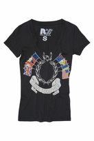 Rebel Yell Come Together Skinny V-Neck Tee in Black