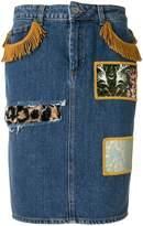 Jeremy Scott patchwork denim skirt