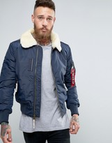 Alpha Industries Bomber Jacket With Sheep Fur Collar In Slim Fit Navy