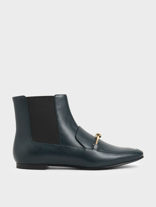 Charles & Keith Metallic Knot Accent Chelsea Boots