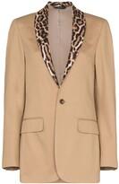 R 13 leopard print-trimmed cotton tuxedo blazer