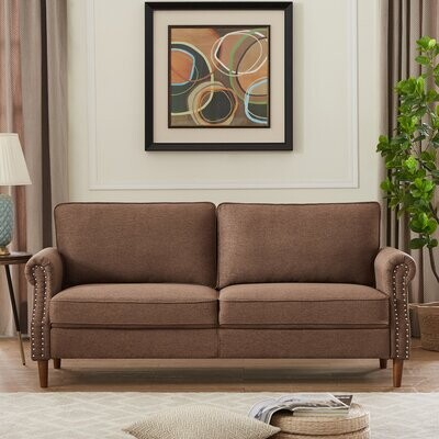 Thumbnail for your product : Winston Porter Aaryon 55.9'' Linen Square Arm Loveseat