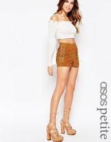 Asos Festival Suede Shorts With Metal Rings