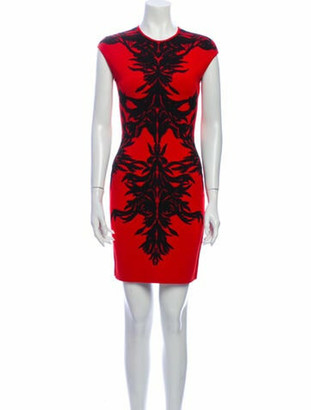 Alexander McQueen Printed Mini Dress Red