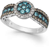 LeVian Le Vian Chocolate, Blue and White Diamond Ring in 14k White Gold (7/8 ct. t.w.)