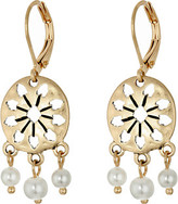 The Sak 3 Bead Disc Drop Earrings
